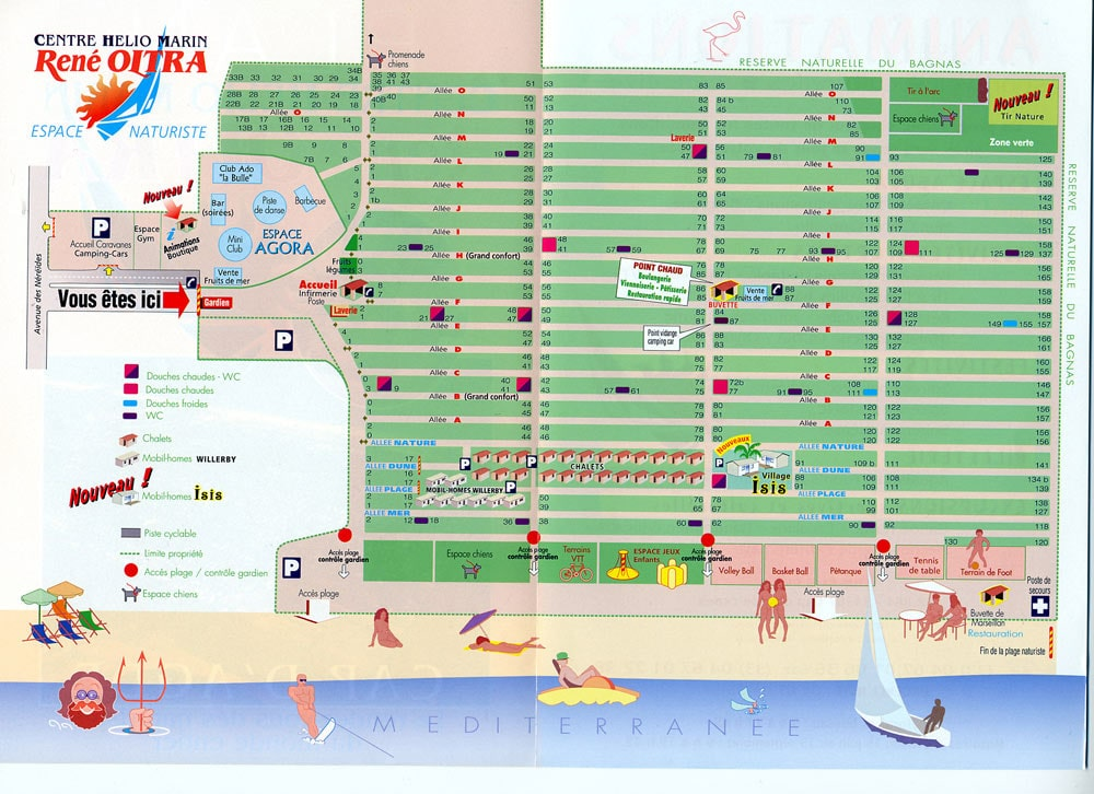 Maps of Cap D\'agde village and resort in France. Agde camp site map.