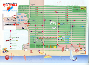 Maps of Cap D'agde village and resort in France. Agde camp site map.