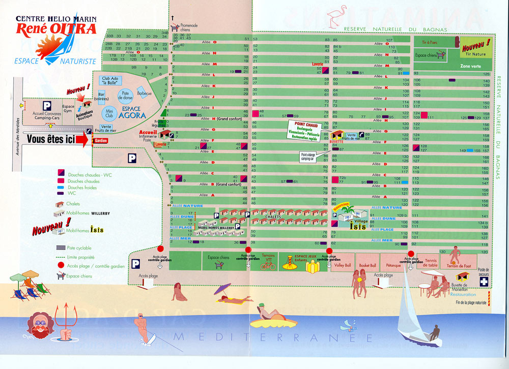 Map of Cap dAgde Camping Site Accommodation and shower blocks