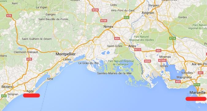 Marseilles Airport and City to Cap dAgde Naturist Village