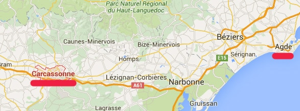 Carcassonne to Le Cap dAgde France Airport driving train