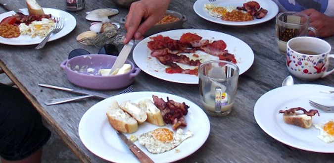 Enjoying a French breakfast in Cap d'Agde